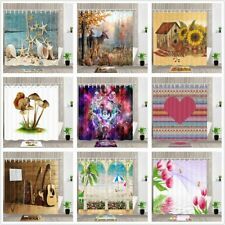 Art Print Fabric Shower Curtain & Hooks Set Bathroom Waterproof Multi Pattern