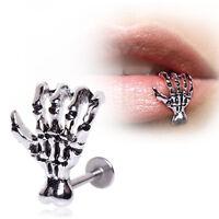 1 Stk NEU Edelstahl Gothic Skeleton Labret Lippenpiercing Schmuck Körperschmuck