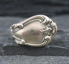 Vintage 925 Sterling Silver Art Nouveau Design Spoon Wrap Ring Size 8.5