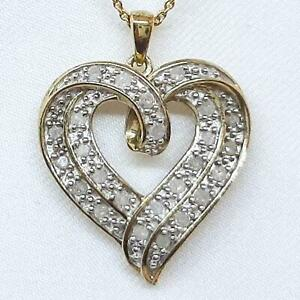 Genuine 1.02ctw H-SI Diamond 14K Yellow Gold 925 Sterling Silver Heart Necklace