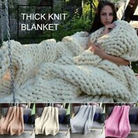 Winter Warm Chunky Knit Blanket Thick Yarn Merino Hand Woven Bulky Knitted Throw