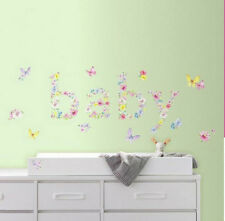 BABY BUTTERFLIES with flowers wall stickers 29 decals nursery decor butterfly