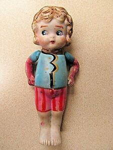 Antique Early 1920s Child's Porcelain Doll With Arms Attached By Strings and Sta