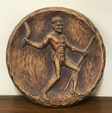 Aboriginal Carved Wood Wall Hanging Plaque by F Rents Circa 1950s