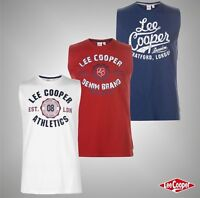 Mens Lee Cooper Large Logo Print Vest Crew Neck Top Sizes from S to XXL