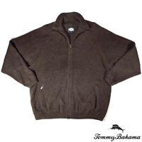 Tommy Bahama Mens S Long Sleeve Cotton Zipper Sweater Pocket Green
