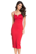 Plunging v neck midi dress backless party evening women festive cocktail club