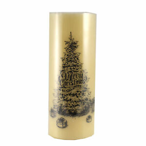 Christmas LED Tree Wax Pillar Candle Polyresin Battery Operated 53967B Merry