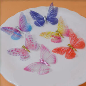 30pcs 5cm Organza Fabric Butterflies Wings Craft Jewelry Bows Decoration