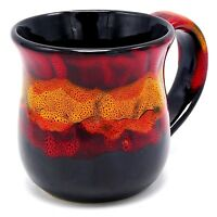 "Studio Art Pottery Coffee Mug Cup Red Orange Black 4"" 14 oz Glazed Ceramic New"