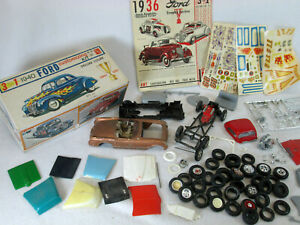 Vintage AMT 1940 Ford, 3 in 1 (box only) & junkyard plastic model car parts lot