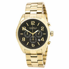 Caravelle Men's Watch Chronograph Black Dial Stainless Steel Bracelet 44B114
