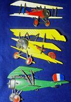 Vintage Homco Cast Metal Airplanes Set of 3 ~ 1975 Wall Hangings WWI  BI-Planes