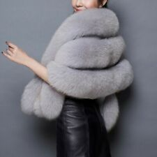 Women Faux Fur Party Coat Warm Long Shawl Wrap Shrug Scarf Vest Tops Cocktail D6