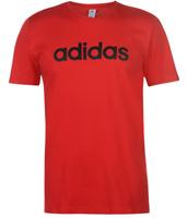 adidas Linear Logo T Shirt Mens Tee Red Black Logo Print UK Size S Small