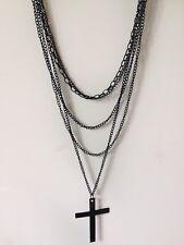 Punk Long Black Cross Muti-Chains Necklace Pendent Choker Collar Jewelry Gift UK