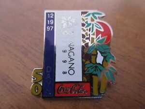 Coca-Cola Pin Nagano 1998 50 Tage days to go Olympia Olympics
