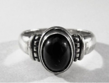 JAMES AVERY STERLING SILVER RING SIZE 4 OVAL BEADED ONYX