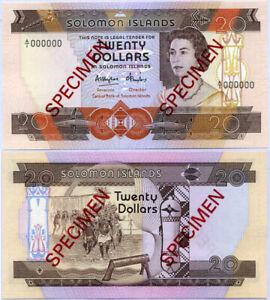 Solomon Islands 20 Dollars ND 1984 P 12 Specimen A/1 000000 UNC NR