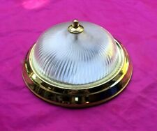 Vintage Fluted Glass Globe Shade Flush Mount Ceiling 2 Light Brass Fixture