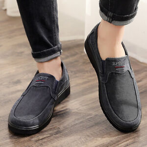 Men's Shoes Flat Casual Canvas Flats Loafers Driving Slip On Breathable Comfy