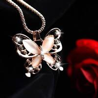 Schmuck Rose Gold Opal Schmetterling Anhänger Pullover Kette Halskette A+