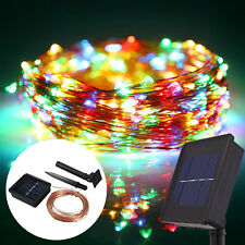 10m 100LEDs Solar Powered Copper Wire LED String Fairy Light Colorful Christmas