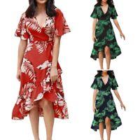 Ruffled Dresses for Women Floral Print Boho Dress Summer Spring V-Neck ShorR1T9