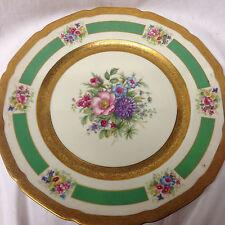 """ROSENTHAL 5841 10 5/8"""" DINNER PLATE GOLD ENCRUSTED BANDS FLORAL CENTER"""