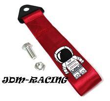 JDM HONDA ASIMO RACING Universal Front & Rear Tow Strap / Tow Hook Ribbon - RED
