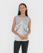 Helmut Lang Silk Ruched Armhole Top Tank XS