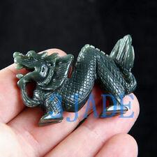 Natural Nephrite Jade Carving: Dragon Figurine
