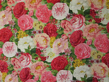 PARIS ROSES FLOWERS PINK RED BLUE COTTON FABRIC BTHY