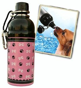 Bulk Lot 12 units - 16 oz. Paws/Bows Pink Stainless Steel Dog Pet Water Bottle