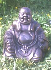 LAUGHING BUDDAH GARDEN ORNAMENT - HEAVY STONE - UK MADE - FREE P&P