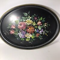 "Vintage Large Oval Toleware Tray 22"" x 16"" Hand Painted Floral Reticulated Sides"