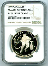 1993 S$1 CANADA STANLEY CUP CENTENNIAL SILVER PROOF NGC PF69 ULTRA CAMEO DOLLAR