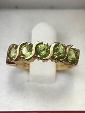 14k Solid yellow gold natural peridot 5 stone ring 1.25 ct S ring mother ring