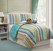 3 Piece Puppy Dog+Stripe Reversible Comforter+PillowCase+Toy Bedding Set Twin