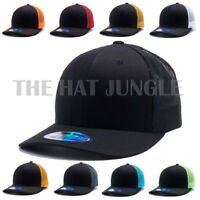 Plain Cambridge Trucker Snapback Hat Meshback Curved Bill Baseball Cap [Black]