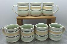Lot 7 Pfaltzgraff  Key Largo Design Coffee Cups Mugs Green Yellow Stripe