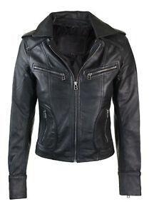 Ladies Women Real Leather Biker Motorbike Short Slim Fitted Jacket