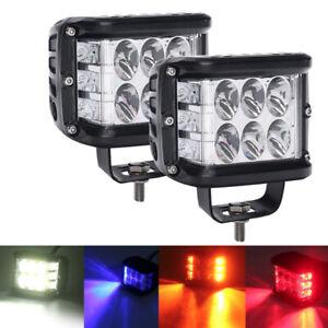 """4""""Inch LED Pods Work Light Bar White & Amber Strobe Lamp Combo For SUV TRUCK rys"""