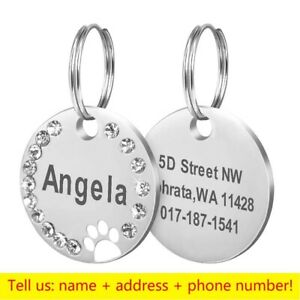 Round Dog Tag Personalized Name Addres Engraved Cat ID Tag Dog Collar Accessorie