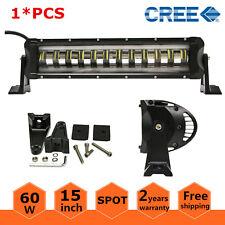 "15"" 60W Cree LED Light Bar Spot Driving Lamp Single Row Truck 4WD Strobe Flash"