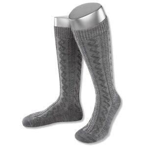 Trachtensocken Kniestrümpfe Tracht Trachten Socken Strümpfe Zopfmuster grau NEU