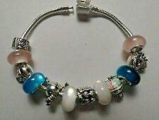 European Style Silver Bracelet - FAMILY -With 5 Silver Charms & 6 Acrylic Beads
