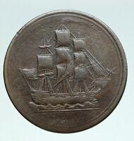 1815 LOWER CANADA Antique  HALF PENNY BANK TOKEN Coin i91006