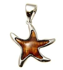 GENUINE INLAY HAWAIIAN KOA WOOD SEA STARFISH PENDANT 24MM STERLING SILVER 925
