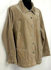 Fashion Bug Corduroy Jacket Beige Fall Coat Metal Button Stretch Size 14 16